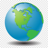 Globe with wold map on transparency grid, America - vector illustration Royalty Free Stock Images