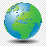 Globe with wold map on transparency grid, middle east, europe - vector illustration Royalty Free Stock Image