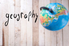 Globe on a wooden background. stock photography