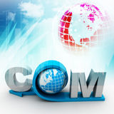 Globe with word dot com. In color background Royalty Free Stock Image