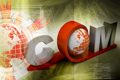 Globe with word dot com Royalty Free Stock Image