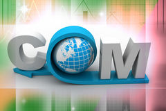 Globe with word dot com. In color background Stock Images
