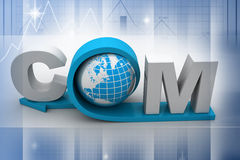 Globe with word dot com. In color background Royalty Free Stock Images