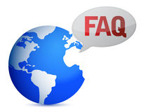 Globe with word FAQ in red Stock Photography