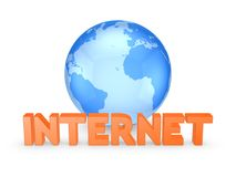Globe and word INTERNET. Royalty Free Stock Image