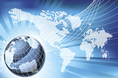Globe Word Map of Earth Background Stock Images