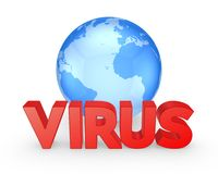 Globe and word VIRUS. Royalty Free Stock Photo