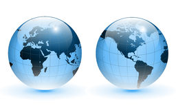 Globe of the world. Blue glass, vector Royalty Free Stock Image
