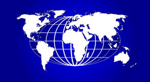 Globe and world. Highly detailed map of the world Vector Illustration