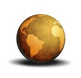 Globe World. World globe metallic golden color Royalty Free Stock Image