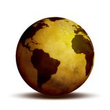 Globe World. Ancient parchment looking World globe Royalty Free Stock Image