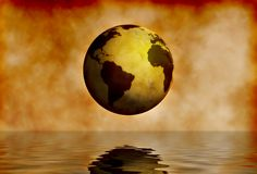 Globe World. World globe reflecting on water Stock Photography