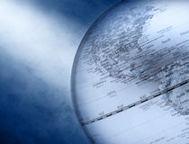 Globe World Business Background. Close up of a world globe with North America showing on an abstract background and a shaft of light royalty free stock photography