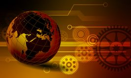 Globe world business data collection trade technology background. royalty free illustration