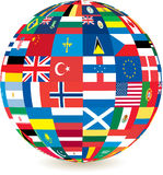 Globe of world countries' flags. Globe of world flags with a drop shadow detail at the bottom Royalty Free Stock Photo