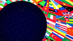 Globe and World Flags. 3d rendered scene of Globe and World Flags animation stock video footage