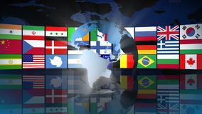 Globe with World Flags stock footage
