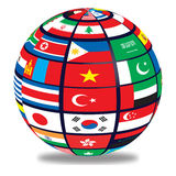 Globe with world flags. Flags of the wrapped world around the globe Royalty Free Stock Image