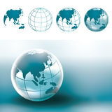 Globe World Map. Chrome Globe Earth showing Asia or Asian region map Stock Images