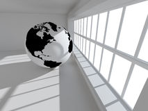 Globe world map. 3d empty architecture with globe world map Royalty Free Stock Images