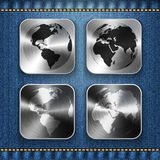 Globe and world map on brushed metal app icons Royalty Free Stock Photos