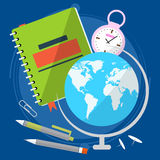 Globe with world map, close the textbook pen and stopwatch. Geography lesson. Back to school. Vector Stock Images