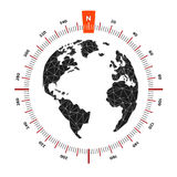 Globe world map compass nautical travel. Scale is 360 degrees. North designation. America, Europe, Atlantic Ocean. Lowpoly triangular. Vector illustration Stock Photography