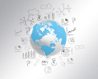 Globe with world map and draw a pencil icon. Stock Photography