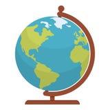 Globe World Map Flat Icon Isolated on White Stock Photos