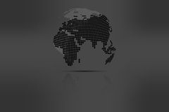 Globe with world map in grayscale colors with shadow. Rounded do Stock Photo