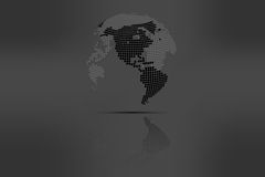 Globe with world map in grayscale colors with shadow. Rounded do Stock Images