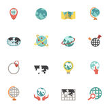 Globe and world map icons. Illustration of Globe and world map icons Stock Photography