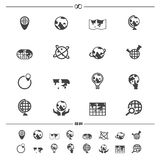 Globe and world map icons. Illustration of globe and world map icons vector Royalty Free Stock Photo