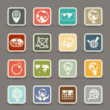 Globe and world map icons Stock Image