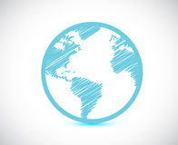 Globe world map illustration design. Over a white background Royalty Free Stock Photography
