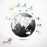 Globe world map illustration infographics geometric concept. Royalty Free Stock Photography