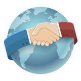 Globe World Map International Partnership Icon Businessman Handshake Symbol Background Isolated Flat Design Vector. Globe World Map International Partnership Royalty Free Stock Images