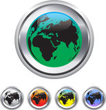 Globe and world map on metallic circle elements Stock Image