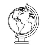 Globe world map thin line Royalty Free Stock Photos