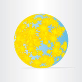 Globe world map with yellow flowers abstract energy earth. Icon Stock Photography
