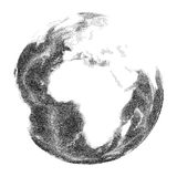 Globe with world ocean relief. Views of Africa Royalty Free Stock Images