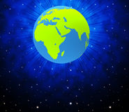 Globe World Shows Solar System And Globalise Stock Photo
