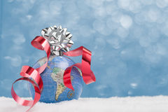 Globe wrapped for Christmas Royalty Free Stock Images