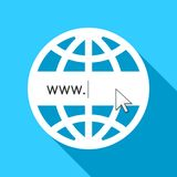 Globe with www sign as world wide web concept. Globe with www sign as world wide web and internet technology concept in flat design Stock Image