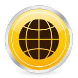 Globe yellow circle icon Royalty Free Stock Photography