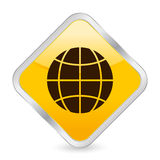 Globe yellow square icon Stock Photos