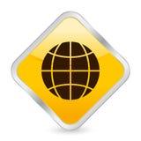 Globe yellow square icon Stock Photos