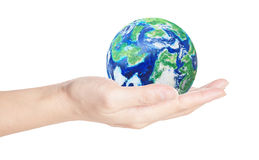 Globe in your hand Royalty Free Stock Photos
