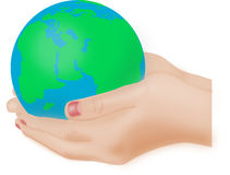 The globe in your hands. Woman hands holding a blue-green coloured globe vector illustration