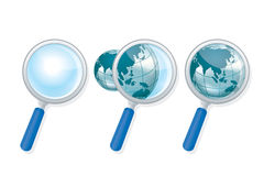 Globe zoom. Globe earth zooming and searching asia using magnifying lens Stock Photo